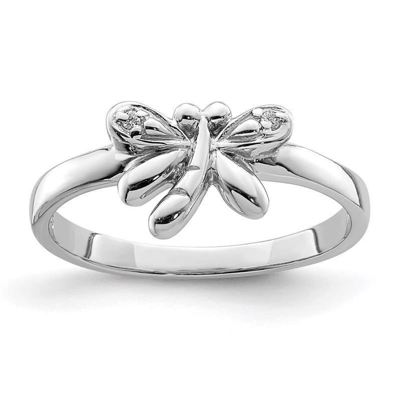 Quality Gold Sterling Silver Rhodium-plated Childs CZ Dragonfly Ring