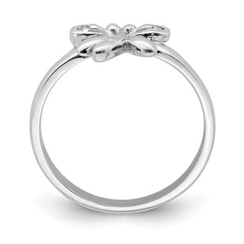 Sterling Silver Rhodium-plated Childs CZ Dragonfly Ring