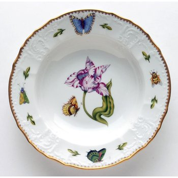 Pink & White Tulip Rim Soup Plate
