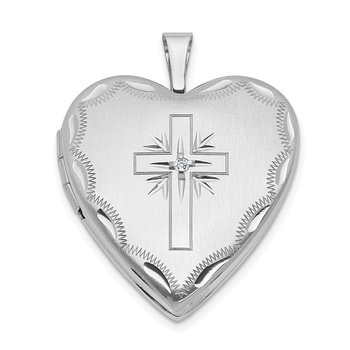 14k White Gold 20mm Diamond Satin & D/C Cross Heart Locket