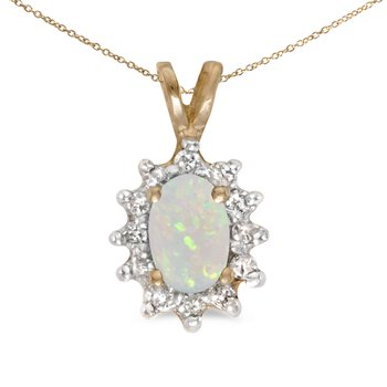 10k Yellow Gold Oval Opal And Diamond Pendant