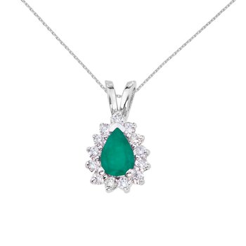 14k White Gold 6x4 mm Pear Shaped Emerald and Diamond Pendant