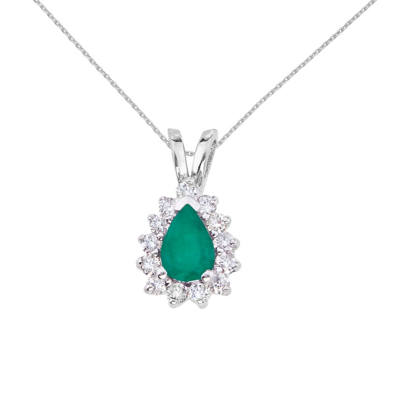 Color Merchants 14k White Gold 6x4 mm Pear Shaped Emerald and Diamond Pendant