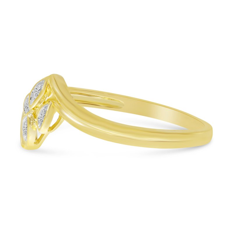 Color Merchants 10K Yellow Gold Diamond Leaf Ring
