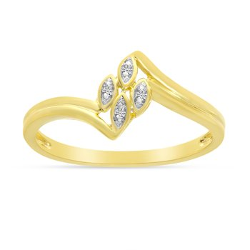 10K Yellow Gold Diamond Leaf Ring