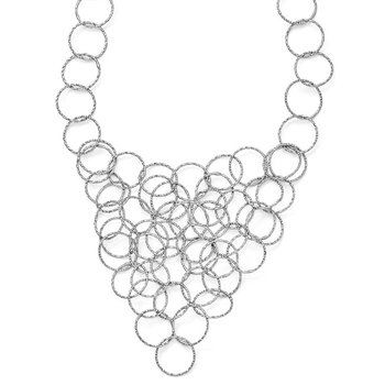 Leslie's Sterling Silver Polished and Textured Fancy Link Necklace