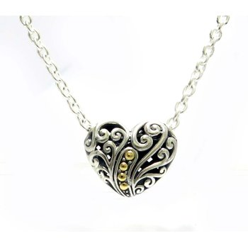 Balinese Swirl Heart Necklace