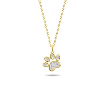 Dog Paw Diamond Pendant