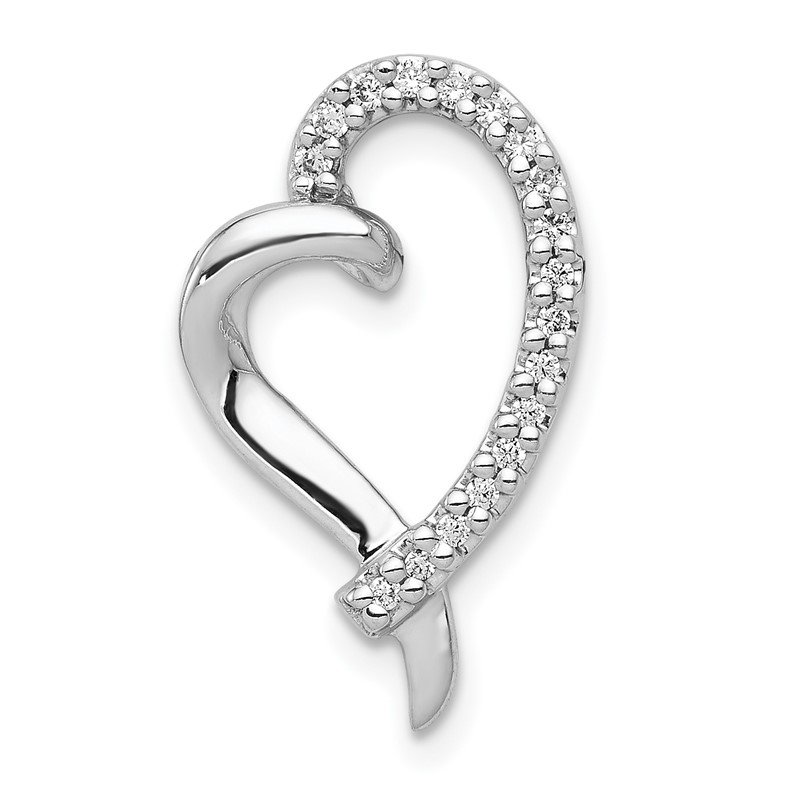 J.F. Kruse Signature Collection 14k White Gold 1/10ct. Diamond Heart Chain Slide