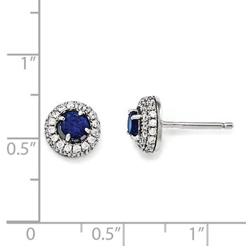Sterling Silver Brilliant Embers Rhodium-plated CZ Circle Post Earrings