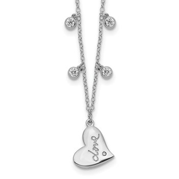 Sterling Silver Rhodium-plated CZ LOVE Heart w/2in ext Necklace
