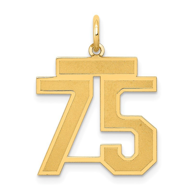 Quality Gold 14k Medium Satin Number 75 Charm
