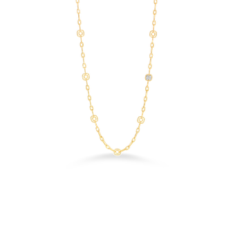 18Kt Gold Necklace With 10 Square Stations And 1 Square Diamond Station