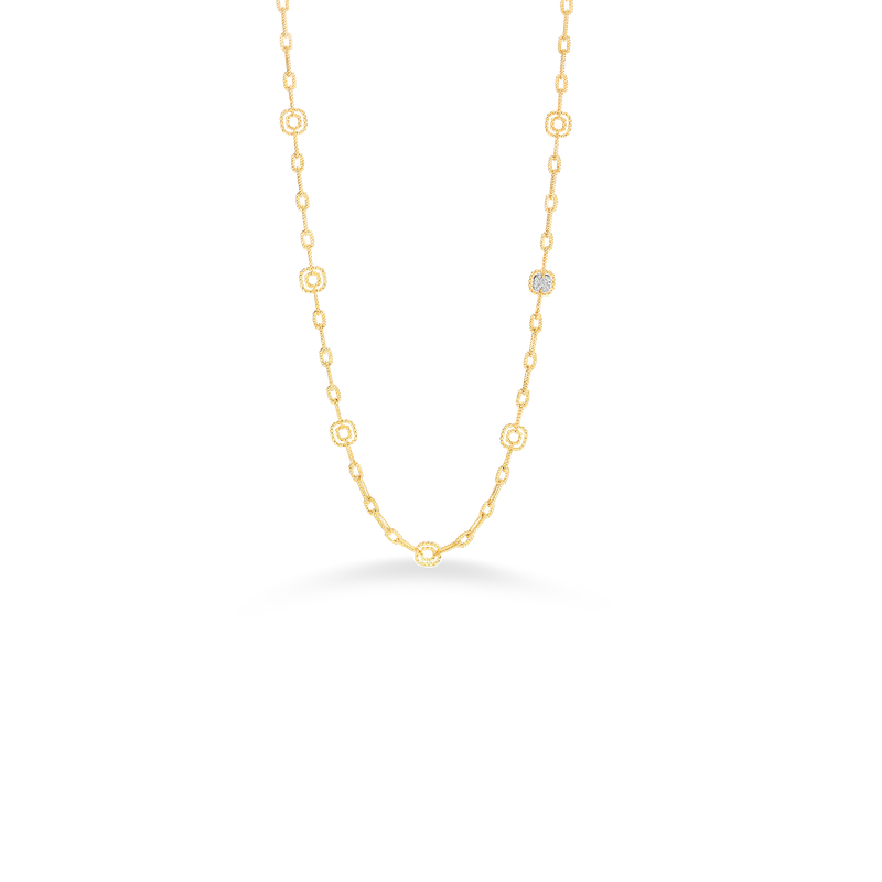 Roberto Coin 18Kt Gold Necklace With 10 Square Stations And 1 Square Diamond Station