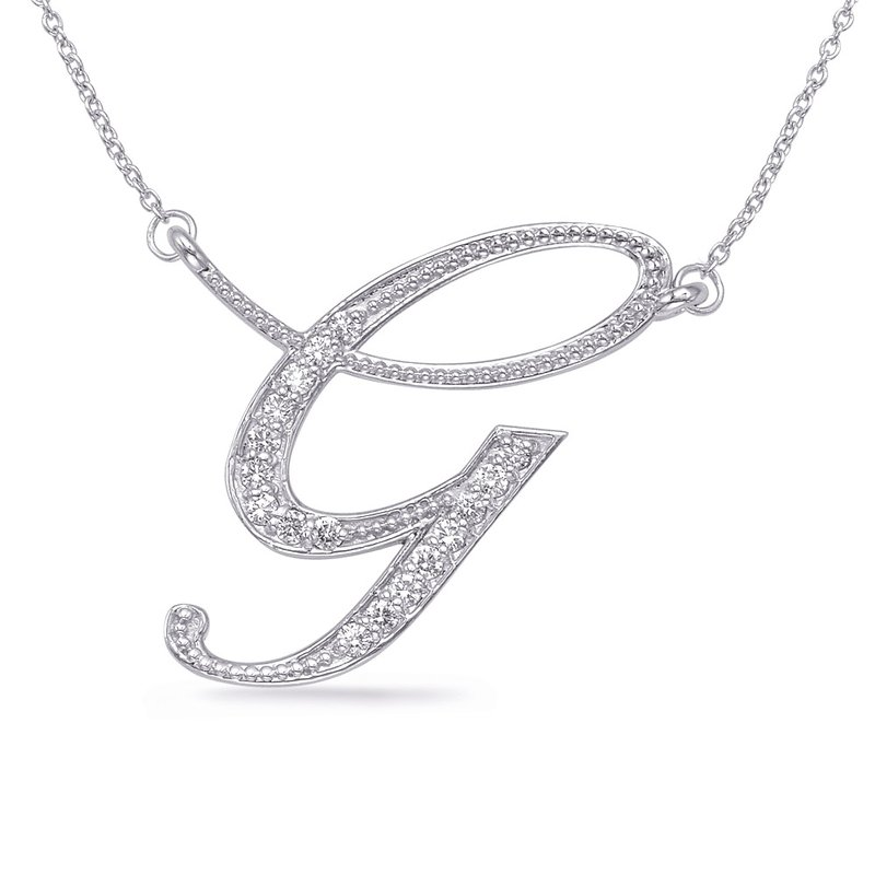 S. Kashi  & Sons Rose Gold Diamond Initial G Pendant