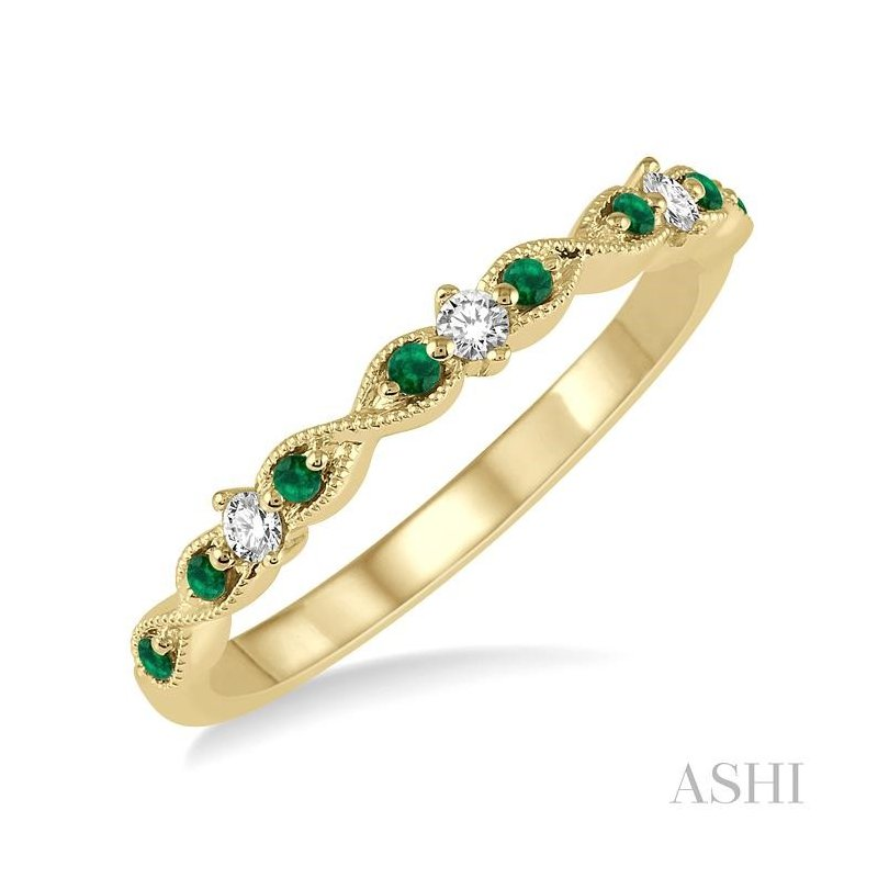 ASHI gemstone & diamond stackable band