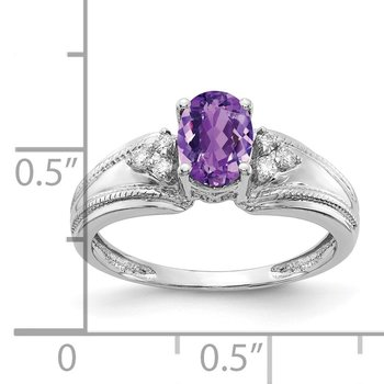 14k White Gold 7x5mm Oval Amethyst AA Diamond ring
