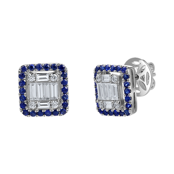 14k square shape earrings featuring 8 baguette & round diamonds 0.56ct & 44 round sapphires 0.57ct