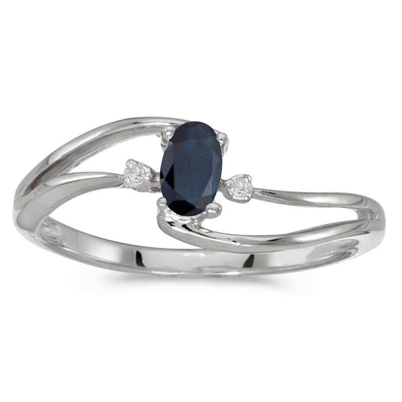Color Merchants 10k White Gold Oval Sapphire And Diamond Wave Ring