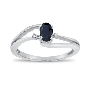 10k White Gold Oval Sapphire And Diamond Wave Ring