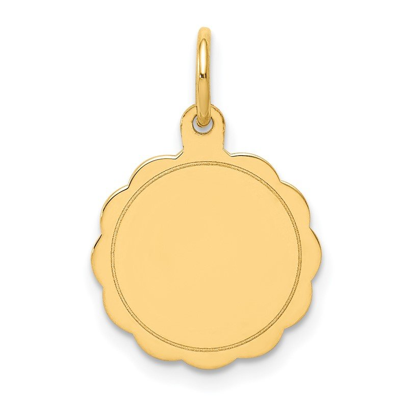 Quality Gold 14k .011 Gauge Engravable Scalloped Disc Charm