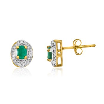 14k Yellow Gold Emerald Earrings with Diamonds