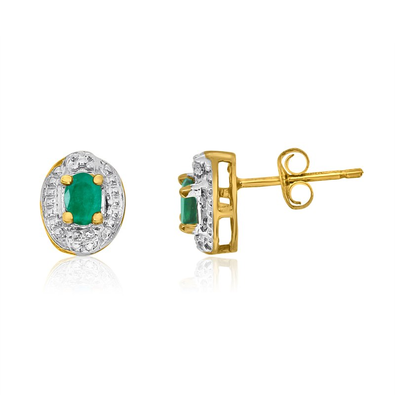 Color Merchants 14k Yellow Gold Emerald Earrings with Diamonds