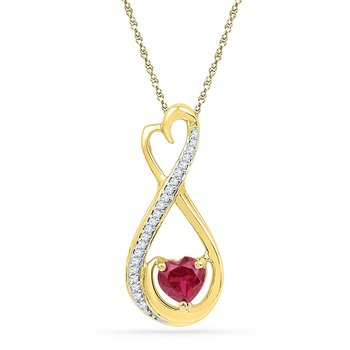 10kt Yellow Gold Womens Heart Lab-Created Ruby Solitaire Diamond Infinity Pendant 5/8 Cttw