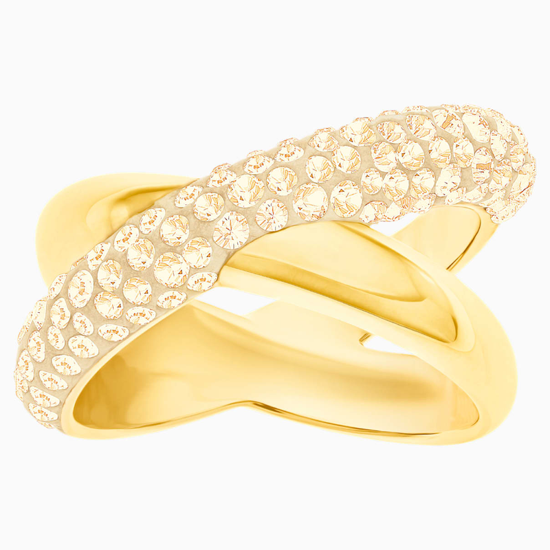 Swarovski Crystaldust Cross Ring, Golden, Gold-tone plated