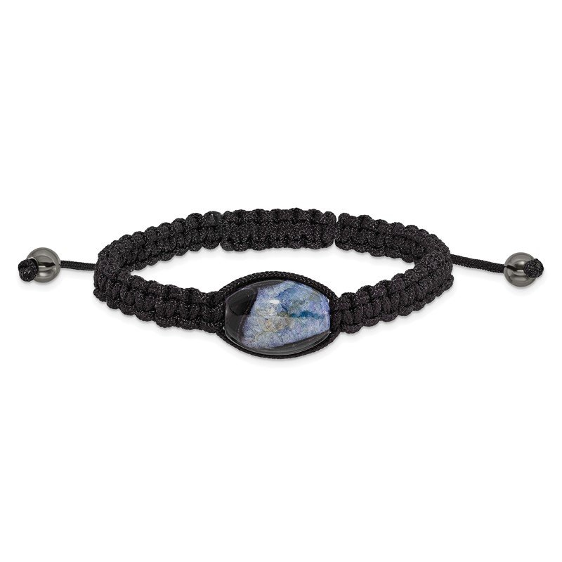 Quality Gold 13x19mm Blue Crystal Agate w/ Hematite Beads Black Cord Bracelet