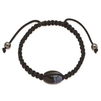 13x19mm Blue Crystal Agate w/ Hematite Beads Black Cord Bracelet