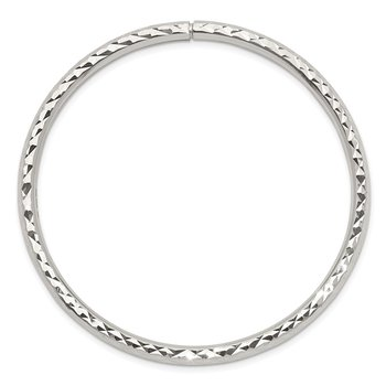 Sterling Silver Diamond-cut Slip-on Bangle