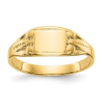 14K Polished Rectangular Baby Signet Ring