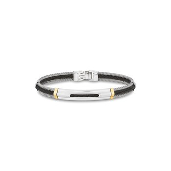 Black & Grey Cable Bracelet with Oblong Cutout Station Framed in 18kt Yellow Gold