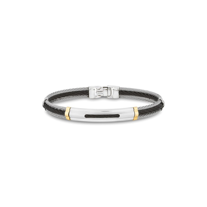 ALOR Black & Grey Cable Bracelet with Oblong Cutout Station Framed in 18kt Yellow Gold