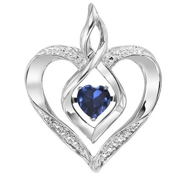 Diamond & Synthetic Sapphire Heart Infinity Symbol ROL Rhythm of Love Pendant in Sterling Silver