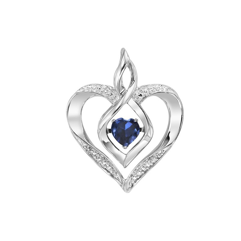 Rhythm of Love Silver Diamond & Created Sapphire Pendant