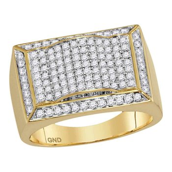 10kt Yellow Gold Mens Round Diamond Rectangle Domed Cluster Ring 1-1/3 Cttw