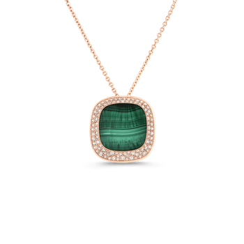 18Kt Gold Small Pendant With Malachite And Diamonds