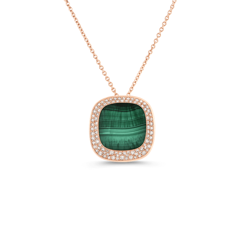 Roberto Coin 18Kt Gold Small Pendant With Malachite And Diamonds
