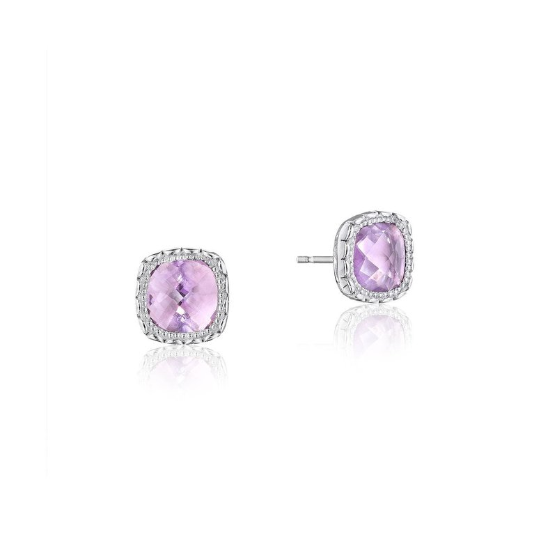 Tacori Fashion Cushion Gem Earrings with Rose Amethyst