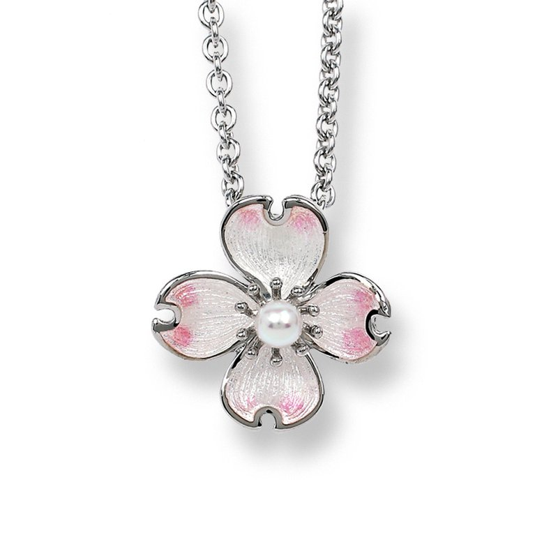 Nicole Barr Designs White Dogwood Necklace.Sterling Silver-Akoya Pearl