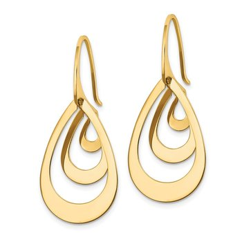 14K Triple Teardrop Dangle Earrings