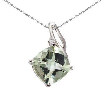 14K White Gold Green Amethyst and Diamond Pendant