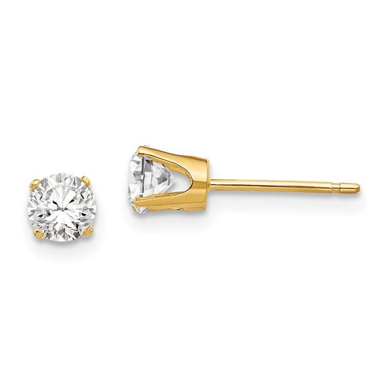 Quality Gold 14k 4.25mm CZ stud earrings
