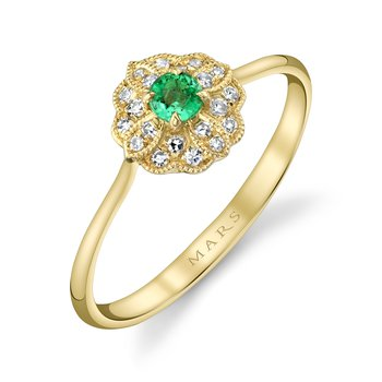 MARS 27304 Fashion Ring, 0.11 Emerald, 0.08 Dia Ctw.
