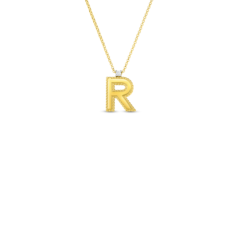 Roberto Coin  #27307 Of 18Kt Gold Princess Letters A – Z Pendants With Diamonds (Large)
