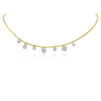 "14K Yellow Gold .65 Seven-Stone Diamond Necklace with 18"" Chain"