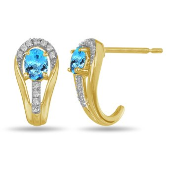 10K YG and diamond and Blue Topaz halo style birthstone earring