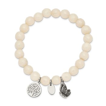 Stainless Steel Antiqued & Polished Butterfly White Jade Stretch Bracelet